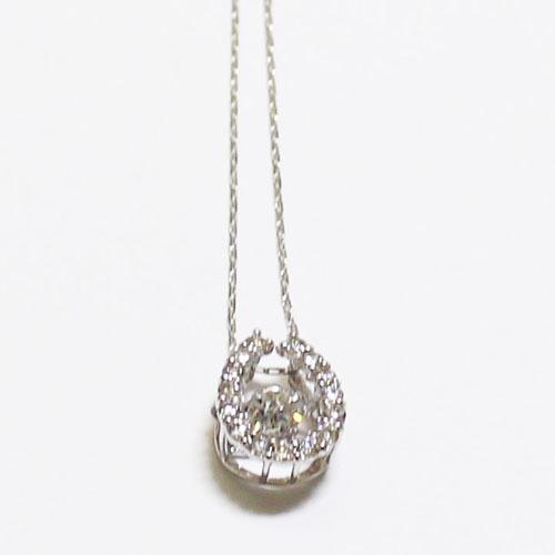K18WG ダイヤ ダンシングストーン ペンダント ネックレス ダイヤ 0.2ct 馬蹄 ホワイトゴールド【新品】