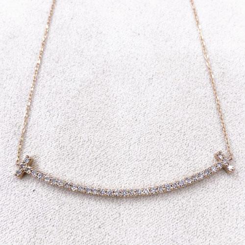 K18PG ダイヤ スマイル ペンダント ネックレス ダイヤ 0.5ct ピンクゴールド【新品】