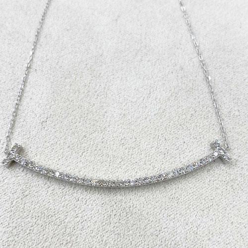 K18WG ダイヤ スマイル ペンダント ネックレス ダイヤ 0.5ct ホワイトゴールド【新品】