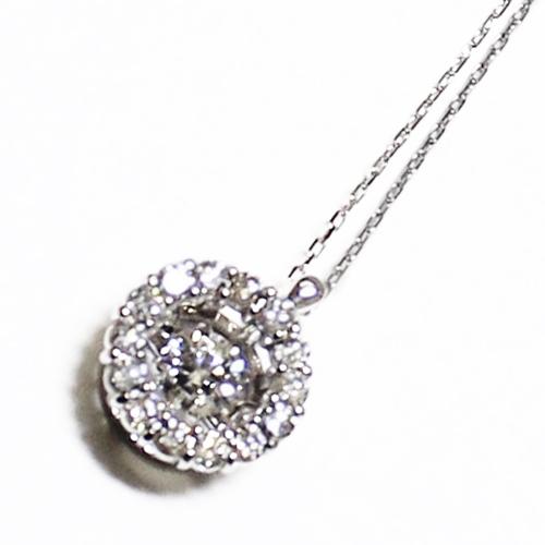 K18WG ダイヤ ダンシングストーン ペンダント ネックレス ダイヤ 0.3ct サークル ホワイトゴールド【新品】