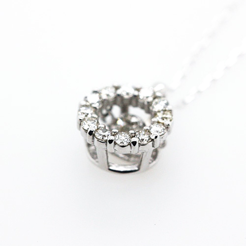 K18WG ダイヤ ダンシングストーン ペンダント ネックレス ダイヤ 0.2ct サークル ホワイトゴールド【新品】