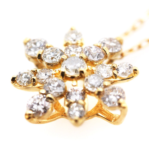 K18YG ダイヤ 0.5ct フラワー 結晶 ペンダント ネックレス イエローゴールド【新品】