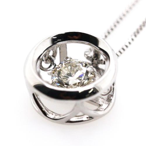 K18WG ダンシングストーン 一粒 ダイヤ ペンダント ネックレス ダイヤ 0.3ct サークル ホワイトゴールド【新品】