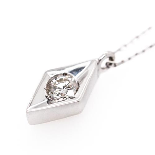 K18WG ダイヤ 0.1ct 一粒 ペンダント ネックレス ホワイトゴールド【新品】