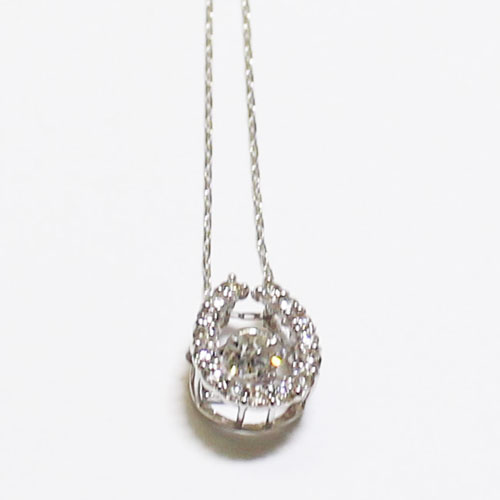 K18WG ダイヤ ダンシングストーン ペンダント ネックレス ダイヤ 1.0ct 馬蹄 ホワイトゴールド【新品】