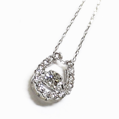 K18WG ダイヤ ダンシングストーン 馬蹄 ペンダント ネックレス ダイヤ 0.3ct ホワイトゴールド【新品】