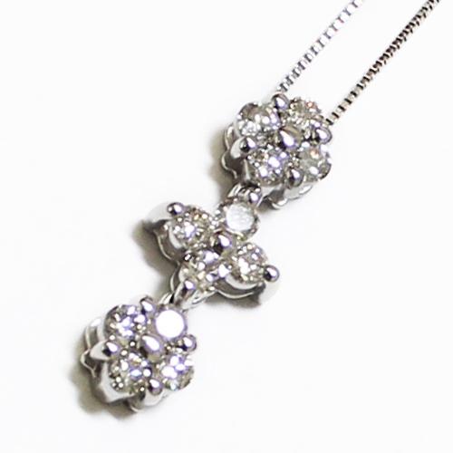 K18WG ダイヤ 0.5ct 2WAY ハート ペンダント ネックレス ホワイトゴールド【新品】
