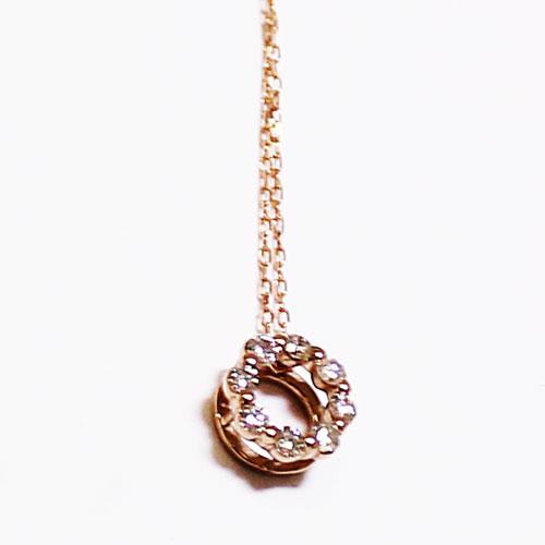 K18PG ダイヤ ペンダント ネックレス 0.1ct ピンクゴールド【新品】