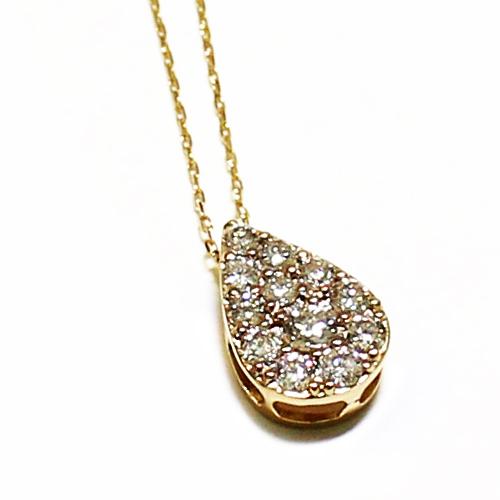 K18YG ダイヤ 0.3ct しずく ドロップ ペンダント ネックレス イエローゴールド【新品】