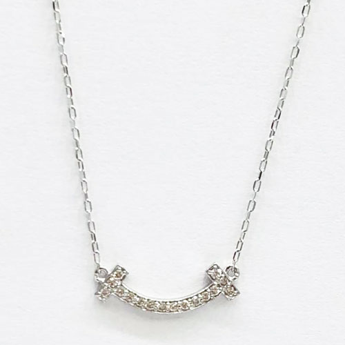K18WG ダイヤ リバーシブル スマイル ペンダント ネックレス ダイヤ 0.06ct ホワイトゴールド【新品】