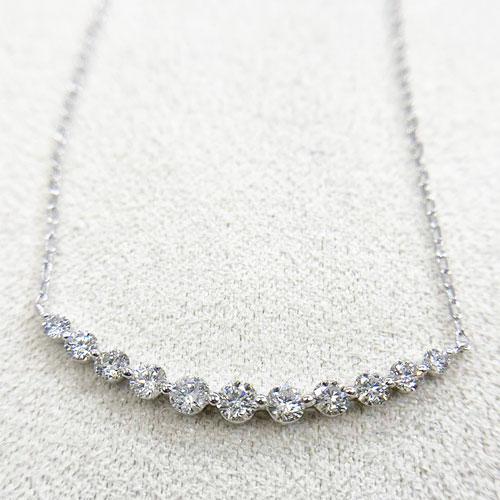K18WG HC ダイヤ ペンダント ネックレス ダイヤ 0.5ct カーブライン ホワイトゴールド【新品】