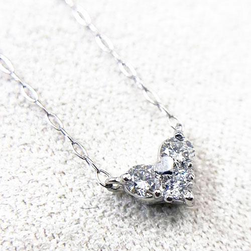 【GGSカード鑑別付き】PT HC ダイヤ ハート ペンダント ネックレス ダイヤ 0.15ct プラチナ【新品】