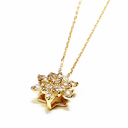 K18YG ダイヤ ペンダント ネックレス 0.3ct スター 星 クリスタル イエローゴールド【新品】