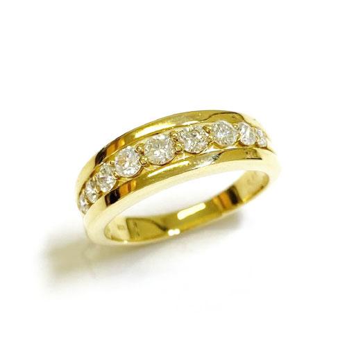 【GGSカード鑑別付き】K18YG ダイヤ 0.5ct HC 一文字 リング 指輪 イエローゴールド【新品】