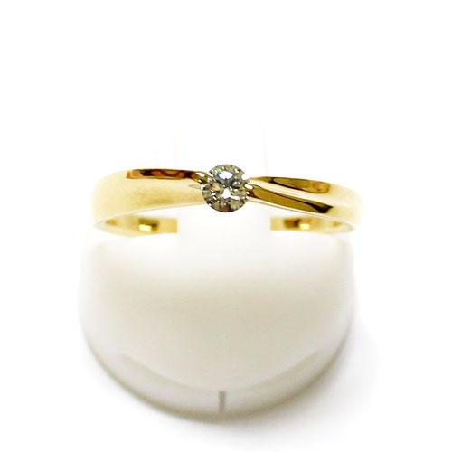 K18YG ダイヤ 0.11ct 1粒 リング 指輪【新品】