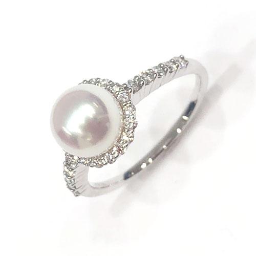 【真科研鑑別書付き】PT オーロラ天女 アコヤパール 7.0ミリ ダイヤ 0.34ct リング 指輪【新品】