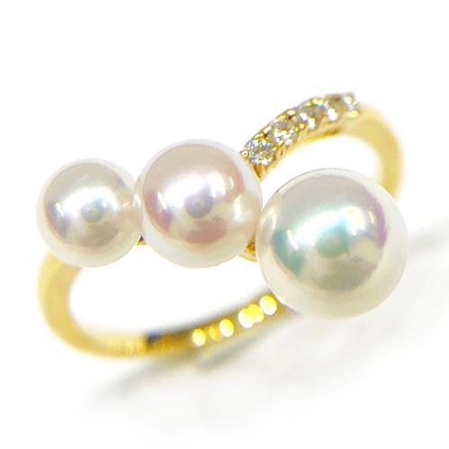 K18YG パール 4.5~5.9mm ダイヤ 0.05ct リング 指輪 イエローゴールド【新品】