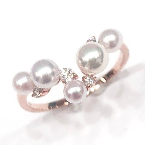 K18PG パール 3.3~4.5mm ダイヤ 0.1ct リング 指輪 ピンクゴールド【新品】