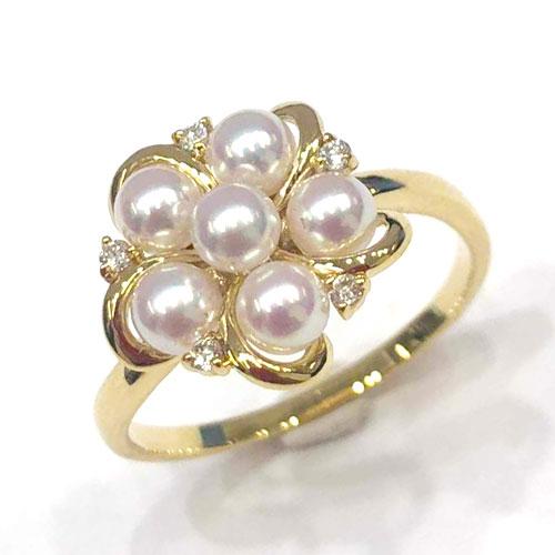 K18YG パール 3.5mm ダイヤ 0.05ct リング 指輪【新品】