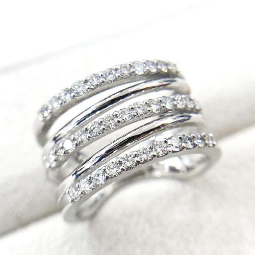 PT ダイヤ 0.7ct リング 指輪 重ね付風 幅広【新品】