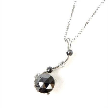 K18WG ブラックダイヤ 0.8ct UP 大粒 ネックレス ジュエリー アクセサリー【新品】