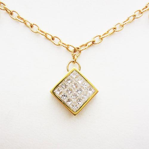 美品 K18 ダイヤ 0.36ct 0.20ct ネックレス 【中古】