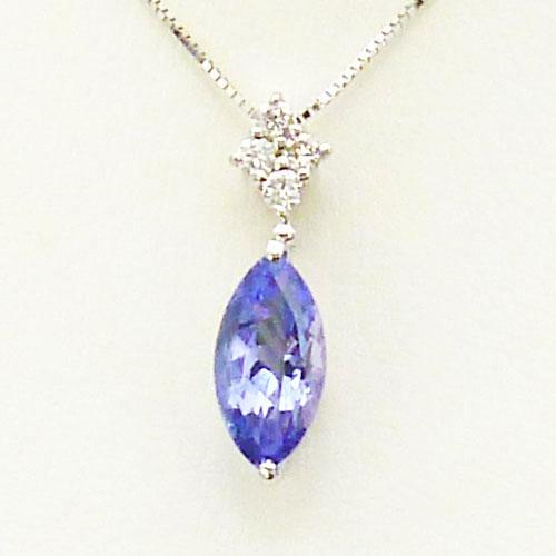 美品 K18WG タンザナイト 1.41ct ダイヤ 0.10ct ペンダント ブルー 高級 上品 人気【中古】