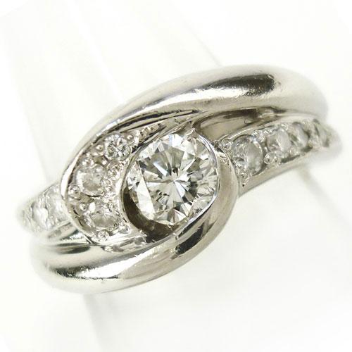 美品 Pt900 ダイヤ 0.20ct 0.346ct リング 指輪 8号 キレイ デイリー 上品 【中古】