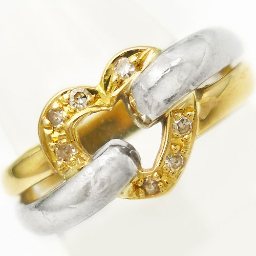 美品 K18 Pt900 ダイヤ ハート リング 指輪 11.5号【中古】