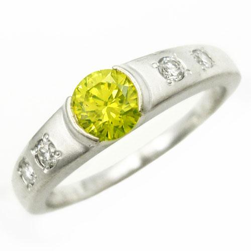 美品 アップルグリーンダイヤ 0.358ct ダイヤ 0.09ct PT900 約11.5号 リング 指輪【中古】