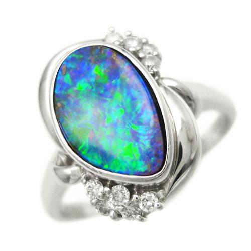 美品 ボルダーオパール 1.72ct PT900 ダイヤ 0.10ct リング 指輪 約15.5号【中古】