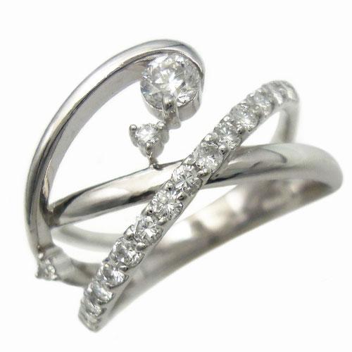 新品 未使用 美品 ダイヤ 0.21ct 0.43ct K18WG リング 指輪 約17号【中古】