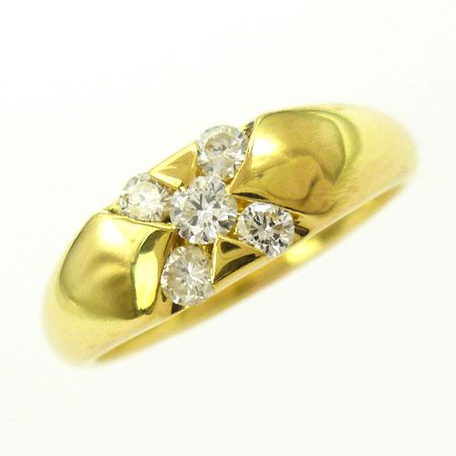 美品 ダイヤ 0.30ct K18 リング 指輪 甲丸 約13号【中古】