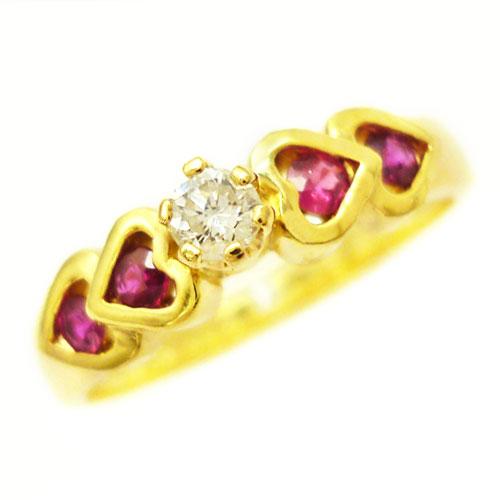 美品 K18 ダイヤ 0.1ct ルビー リング 指輪 約11.5号 ハート【中古】