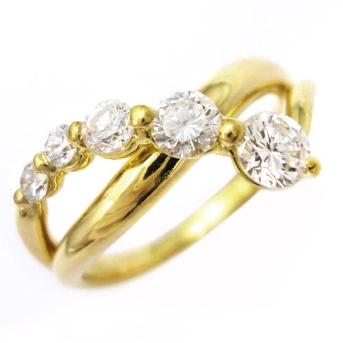 美品 ほぼ未使用 ダイヤ 0.54ct K18 ゴールド リング 指輪 約11号【中古】