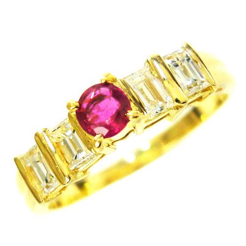 美品 K18 ダイヤ 043ct ルビー リング 指輪 約11.5号【中古】