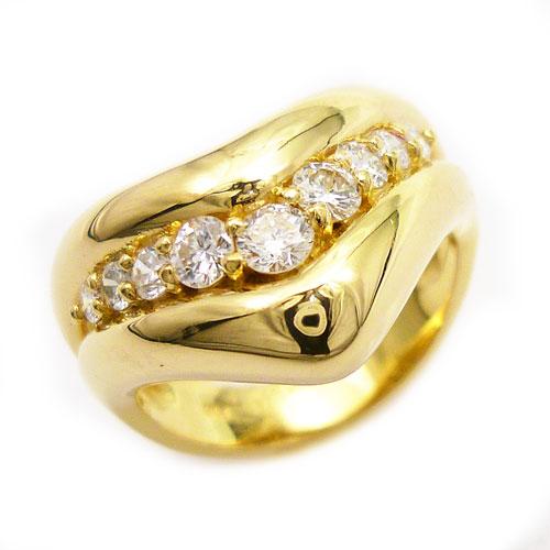 引出物 美品 K18 ダイヤ リング 11.5号 輸入 0.49ct 指輪 V字 中古