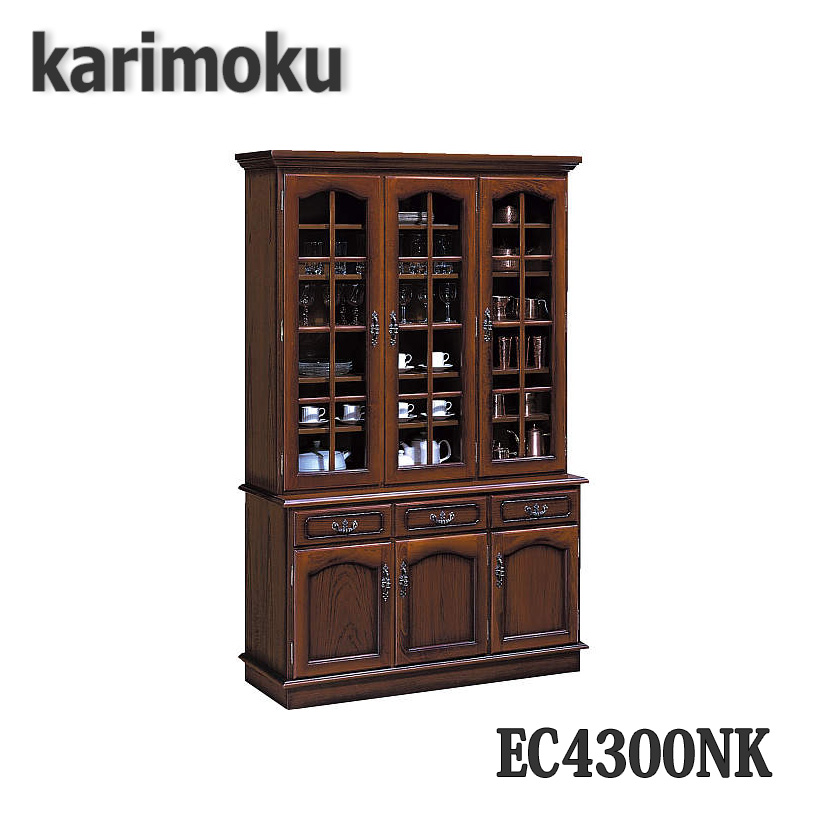 【開梱設置付き】カリモク家具 EC4300NK 食器棚 幅1244×奥445×高1920mm コロニアルシリーズ 送料無料、日本製国産