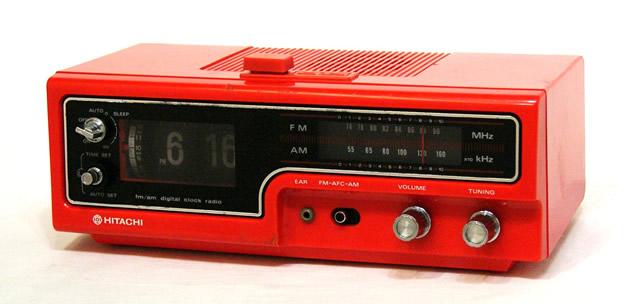 【中古】迅速発送+送料無料+動作保証!! HITACHI 日立 KC-526D 赤 パタパタ時計付FM/AMラジオ ビンテージ ヴィンテージ レトロ アンティーク【@YA管理1-53-Red1】