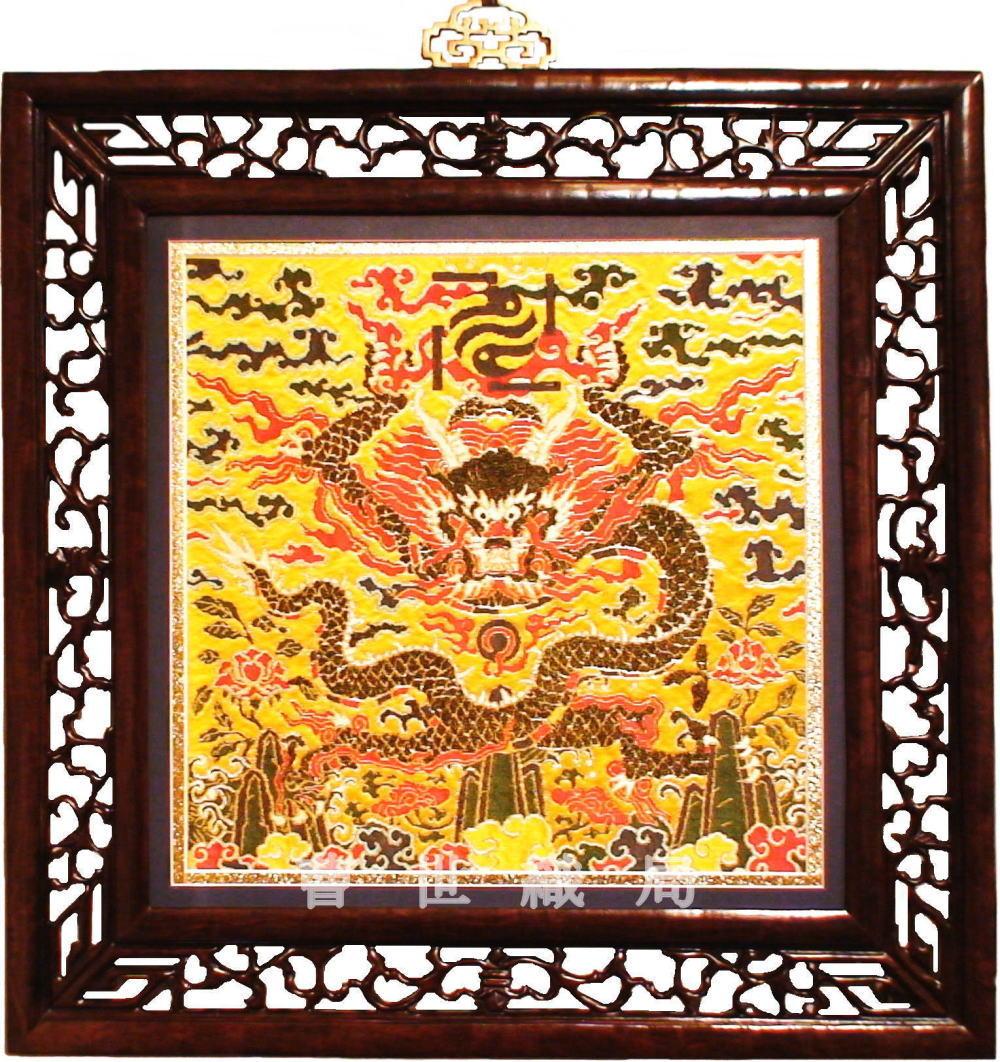 【送料無料】 中国雲錦純金 孔雀羽 方龍補 黄開運 風水 四神獣 新品手織り芸術 Loong Dragon fabric威龍彩雲通販