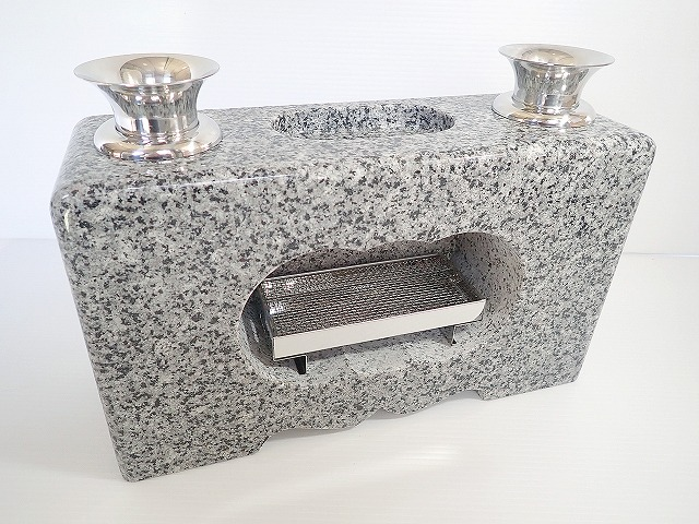 墓石 花立 線香皿もついて便利なお墓用香炉 硬く汚れにくい お墓 秀逸 線香皿付 卸直営 一体型白御影石 香炉 墓石用花立