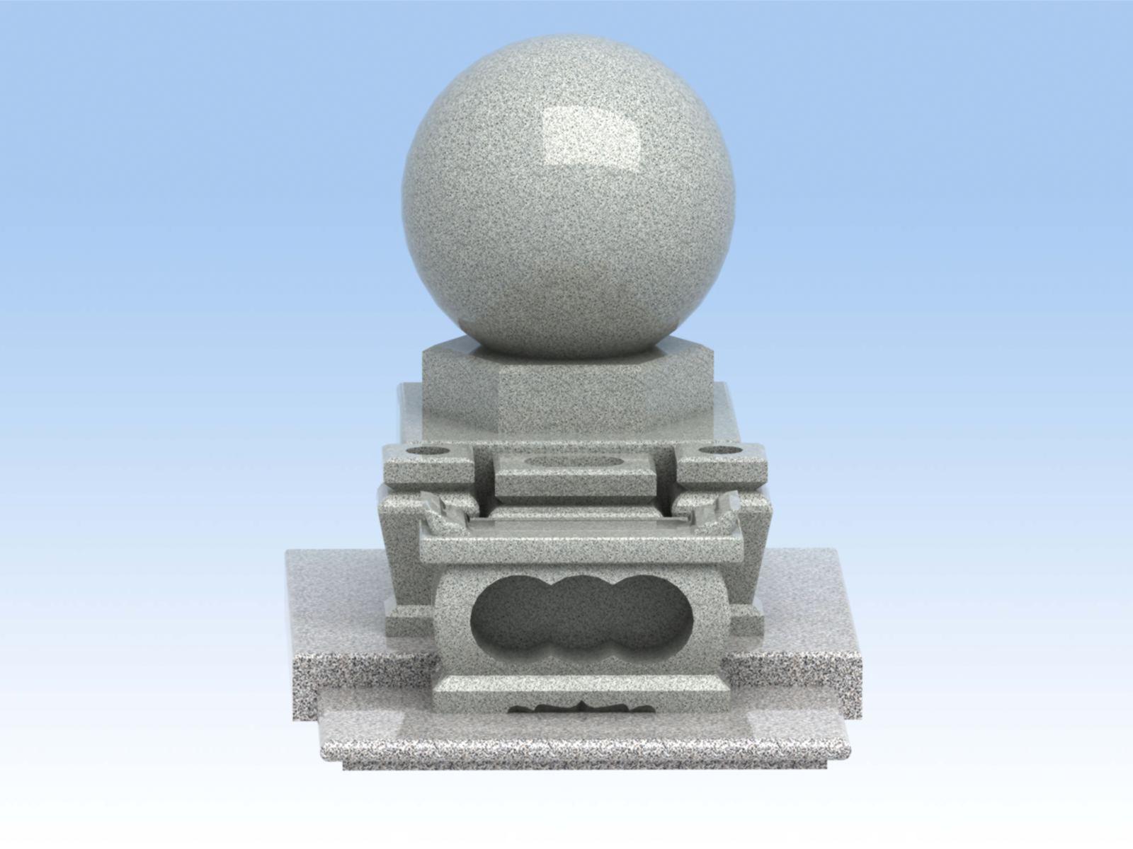 墓石 新宇宙【中】 一尺五寸玉球 白みかげ石【工事付】