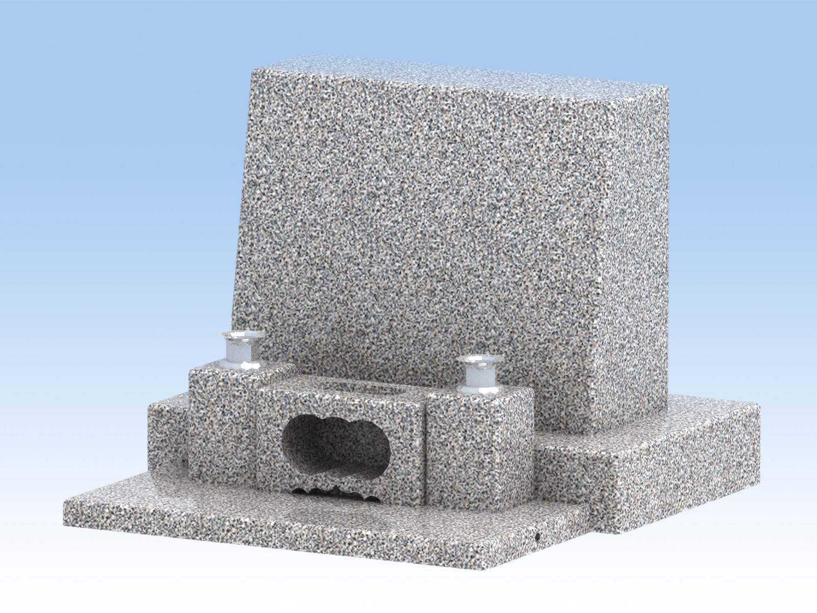自作キット墓石 DIY自作(横型大) 白御影石