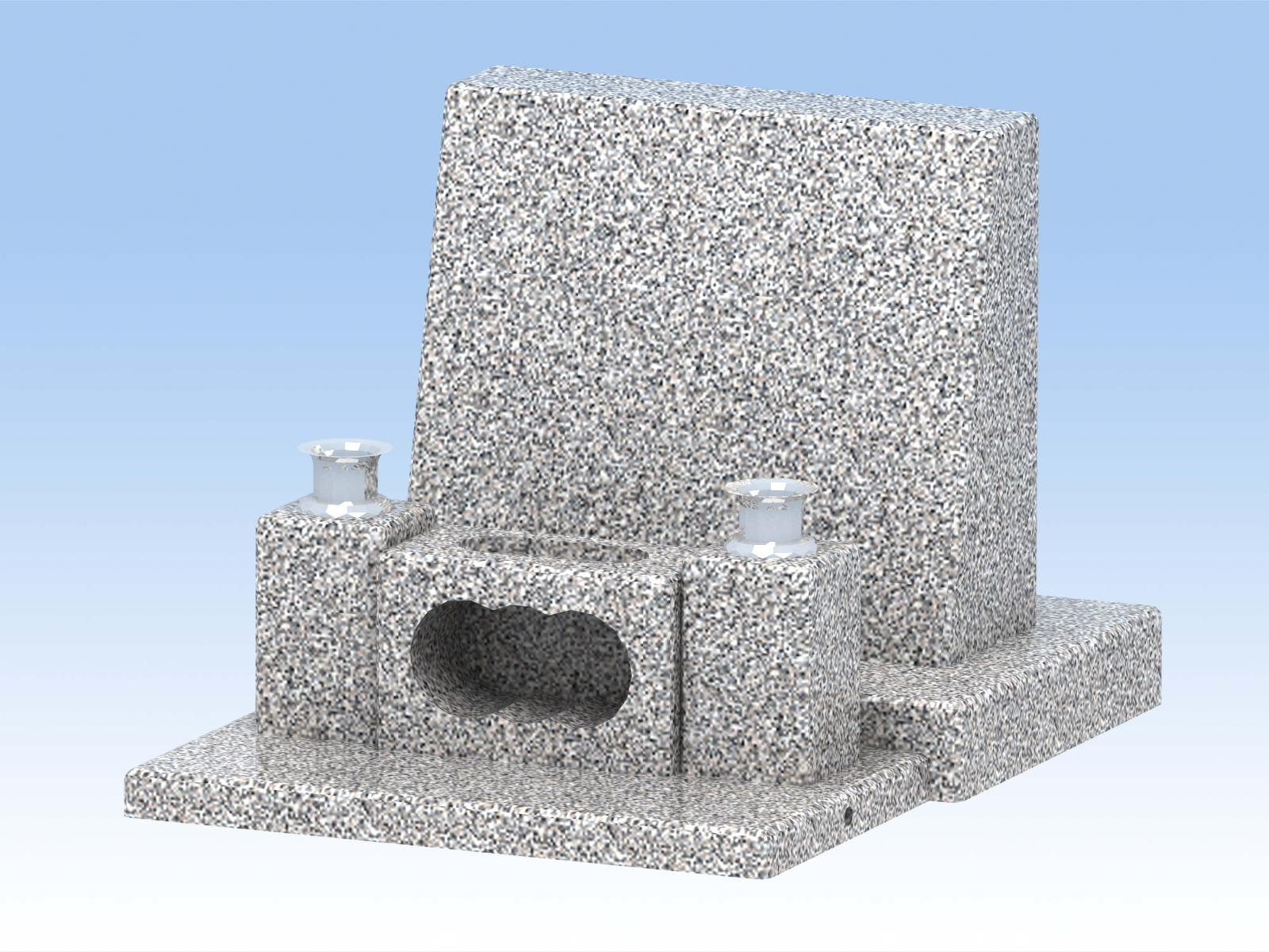 墓石 DIY自作キットB(中)正面文字彫付き 白御影石