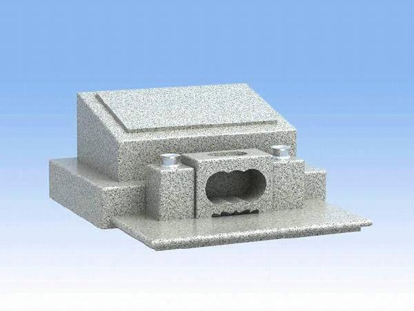 墓石 デザイン洋型二段平型(白御影石)