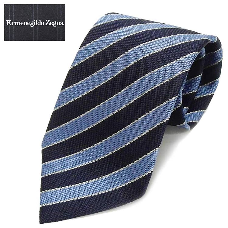 ◇Ermenegildo Zegna◇イタリア製ネクタイ◇濃紺×空色◇ストライプ◇シルク100%◇ゼニア EZN05