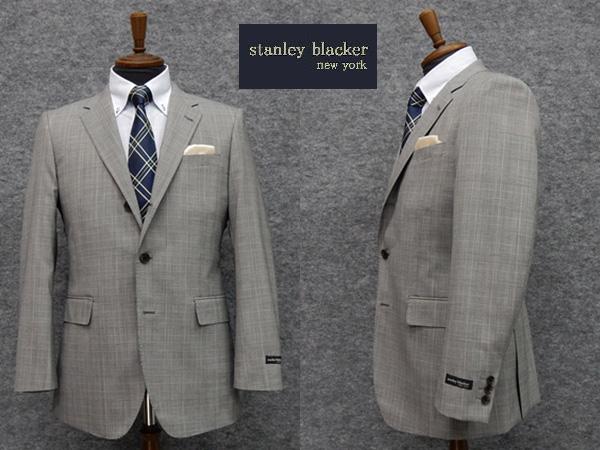 春夏物[STANLEY BLACKER] スタンリーブラッカー ベーシック段返り3釦シングルスーツ ストレッチ グレンチェック [A体][AB体]ブランドスーツ