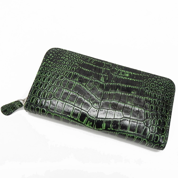 〓天然皮革〓メンズ長財布◆クロコダイル革◆黒×緑/目地染め◆ラウンドファスナー◆ナイルクロコ 日本製 WL11-GN