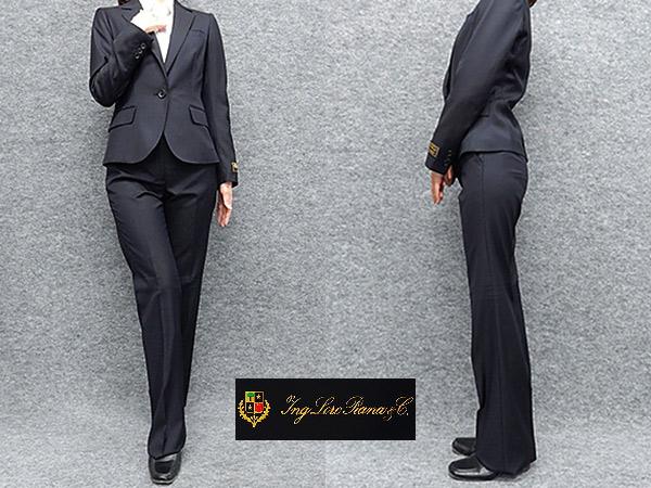 レディーススーツ イタリー生地 ロロピアーナ 1ボタン 濃紺 毛100% [7号 9号 11号 13号] 通年対応 パンツスーツ 就活 リクルート