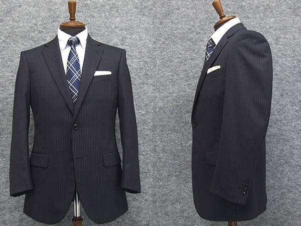 秋冬物 2パンツ ベーシック2釦シングルスーツ 紺ストライプ ストレッチ素材 [A体][AB体][BE体] メンズスーツ R1305
